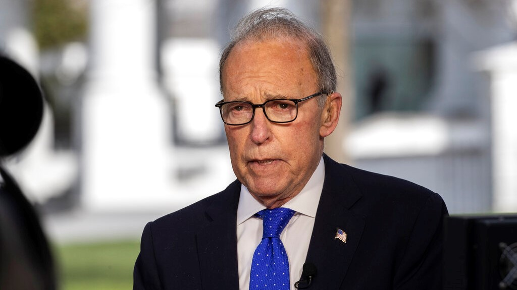 White House Chief Economic Adviser Larry Kudlow speaks during a television interview at the White House, Friday, April 10, 2020, in Washington. (AP Photo/Alex Brandon)