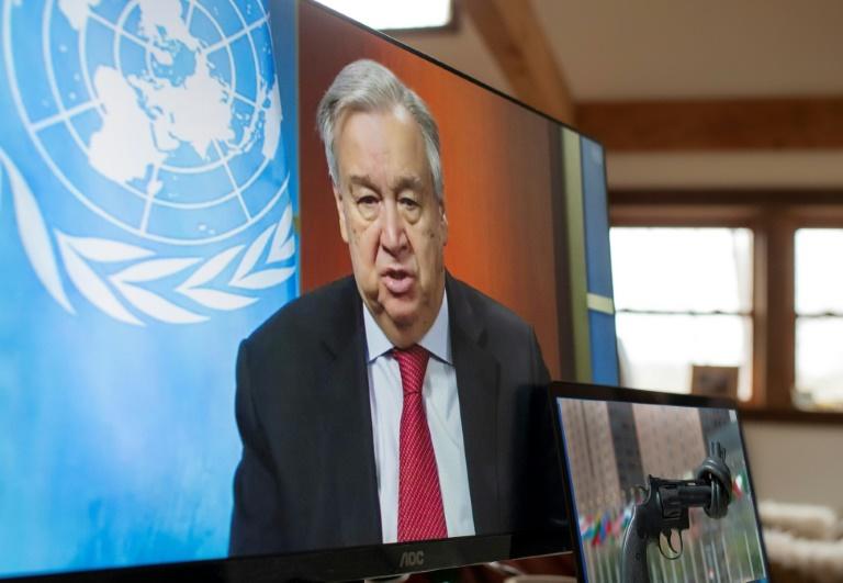 Le secrétaire général des Nations Unies, Antonio Guterres, lors d'une conférence de presse par vidéo, le 3 avril 2020 à New York