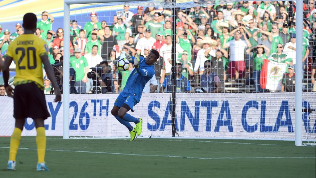Andre Blake's standout moment came in the semifinals versus Mexico when he made three spectacular saves to help Jamaica earn a 1-0 win, their first ever against El Tricolor in a Gold Cup on July 23 2017, at Rose Bowl in Pasadena, California. (PHOTO: Concacaf.com).