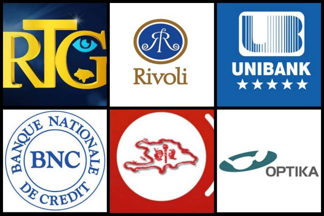Les logos des différentes institutions qui ont décidé de suspendre leurs activités, en raison du Coronavirus. Collage : Loop Haïti