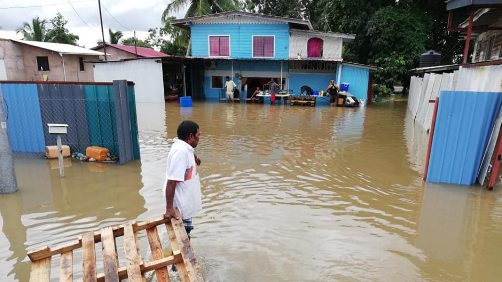 Photo: A Barrackpore family whose home was damaged by flooding in 2019.