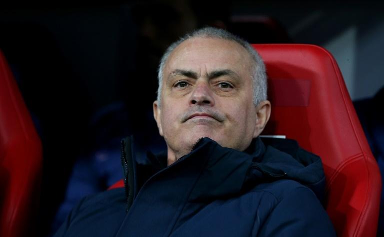 Jose Mourinho, l'entraîneur portugais des Spurs de Tottenham, le 10 mars à Leipzig en Allemagne.