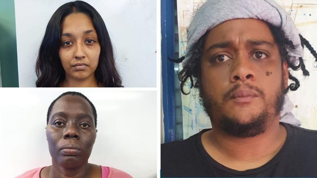 From upper left: Karishma Mohammed, Luann Boyce and Trivan Guytan charged with possession of counterfeit cards and card-making equipment. Photos courtesy the Trinidad and Tobago Police Service (TTPS).