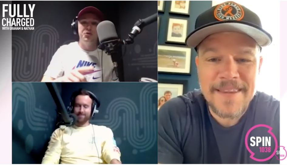Spin 1038 Fully Charged breakfast show hosts, Graham and Nathan interview Matt Damon