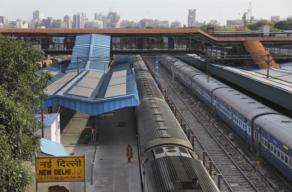 This March 23, 2020, photo shows a deserted New Delhi railway station during lockdown in India. (AP Photo/Manish Swarup)