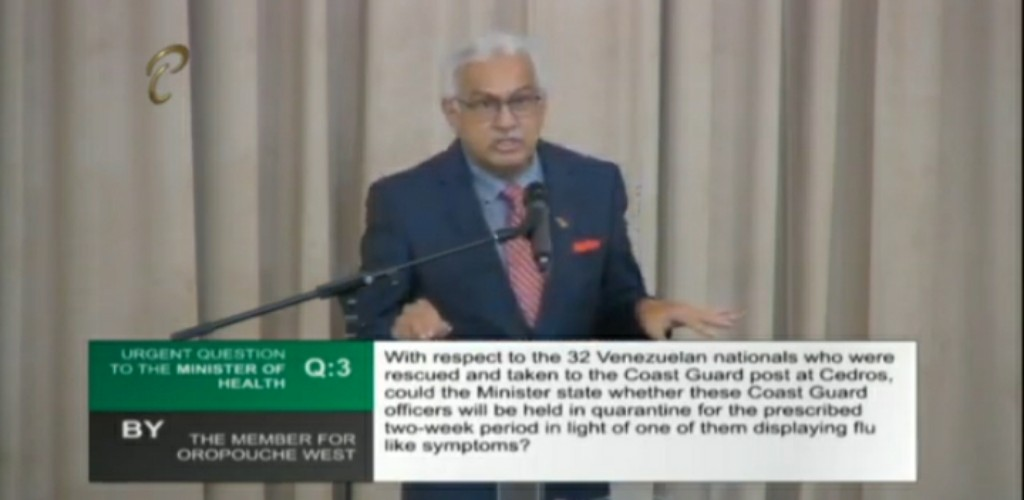 Health Minister, Terrence Deyalsingh responds to an urgent question in Parliament on May 22, 2020