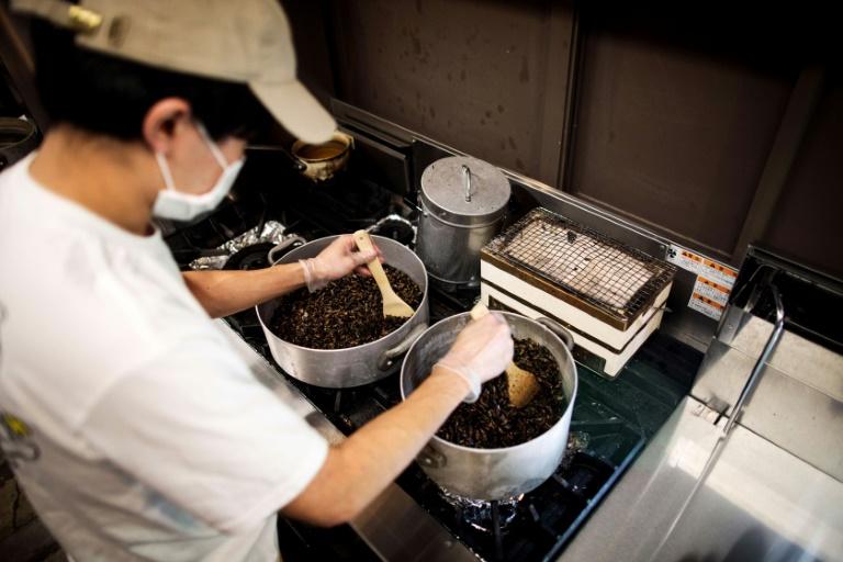 Yuta Shinohara cuit les grillons, ingrédient qui sert à parfumer le bouillon de ses ramen, à Tokyo le 13 mai 2020