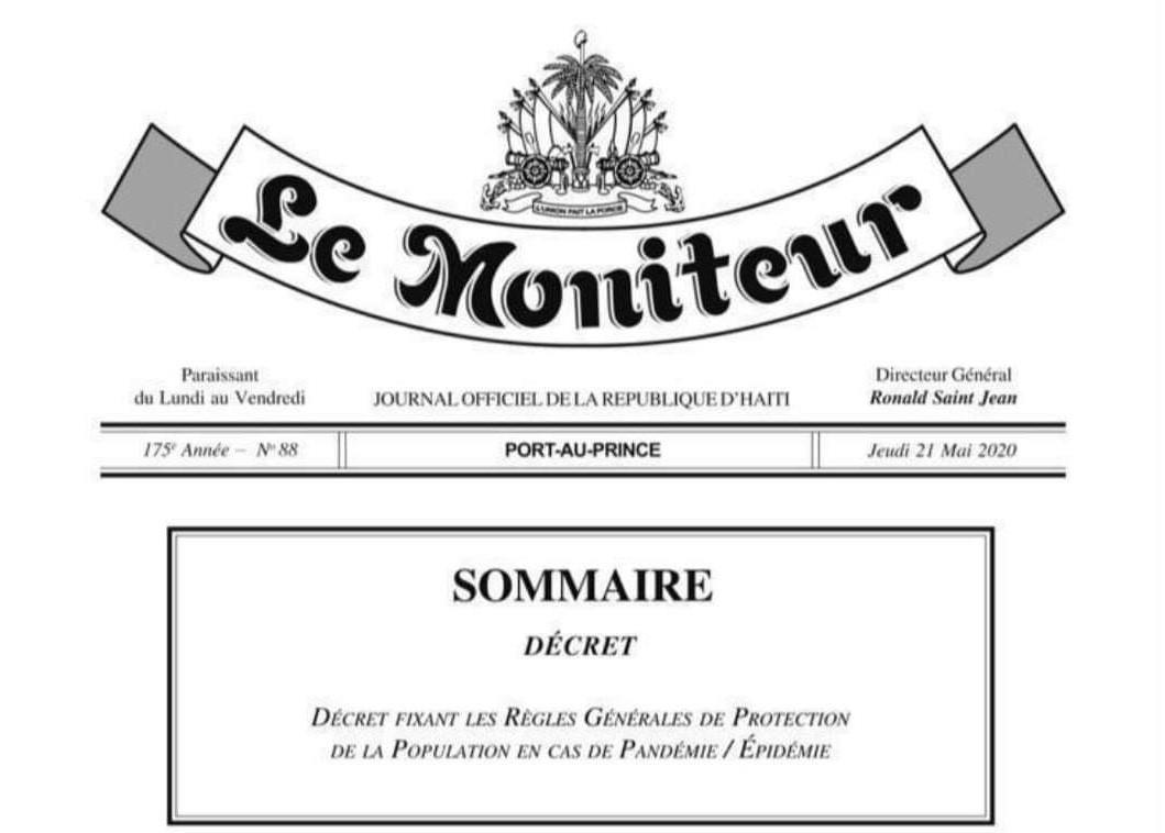 Page de couverture du décret fixant les règles générales de protection de la population en cas de pandémie ou épidemie en Haïti.
