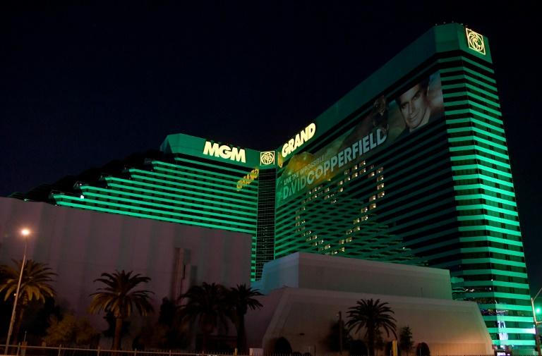Photo d'archives prise le 2 avril 2020 du MGM Grand Hotel & Casino à Las Vegas, fermé en raison des mesures prises dans l'Etat du Nevada pour lutter contre la pandémie de coronavirus