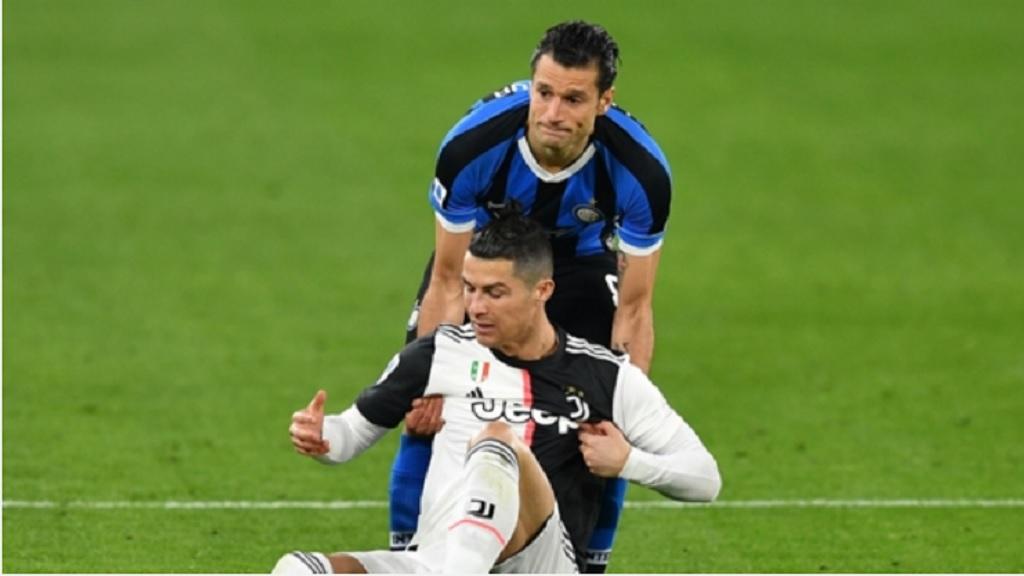 Antonio Candreva and Cristiano Ronaldo.