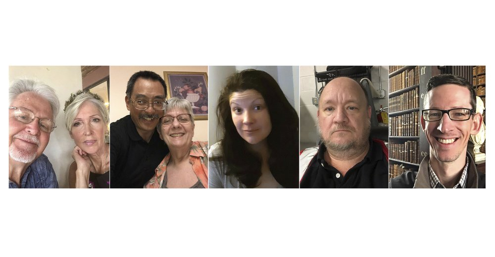 This combination of photos shows selfies of (from left) Clarence Allen Rainwater and Dawn Burton Rainwater; Robert Onishi and Chris Onishi; Kathryn Ray, Quinten Daulton and Eric Little. As the pandemic has changed the world, it has also revealed surprising traits within ourselves, both dormant and newly discovered. (AP Photo)