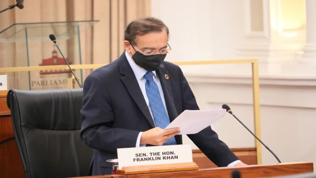 The Leader of Government Business in the Senate and Minister of Energy and Energy Industries, Franklin Khan responds to an urgent question posed by Opposition Senator, Wade Mark. © 2020 Office of the Parliament.