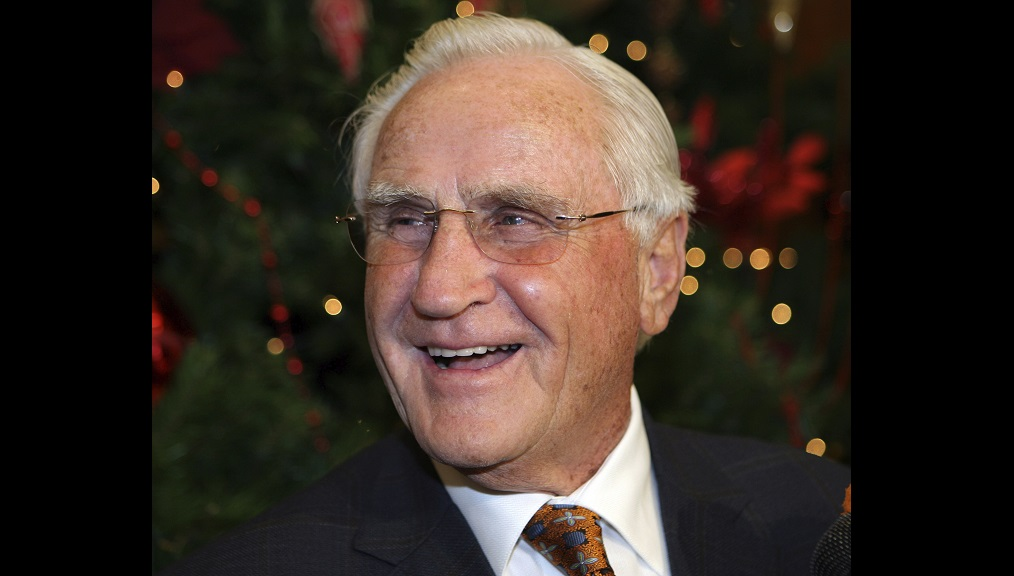 In this January 2, 2010, file photo, former Miami Dolphins head coach Don Shula smiles during his 80th birthday party at Land Shark Stadium in Miami. (AP Photo/Jeffrey M. Boan, File)