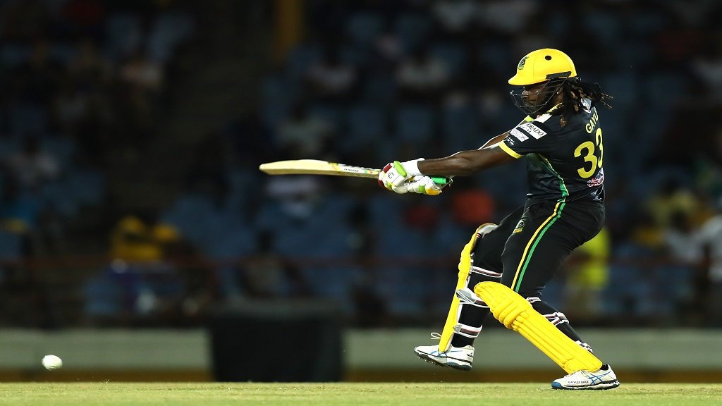 Chris Gayle in action for the Jamaica Tallawahs.