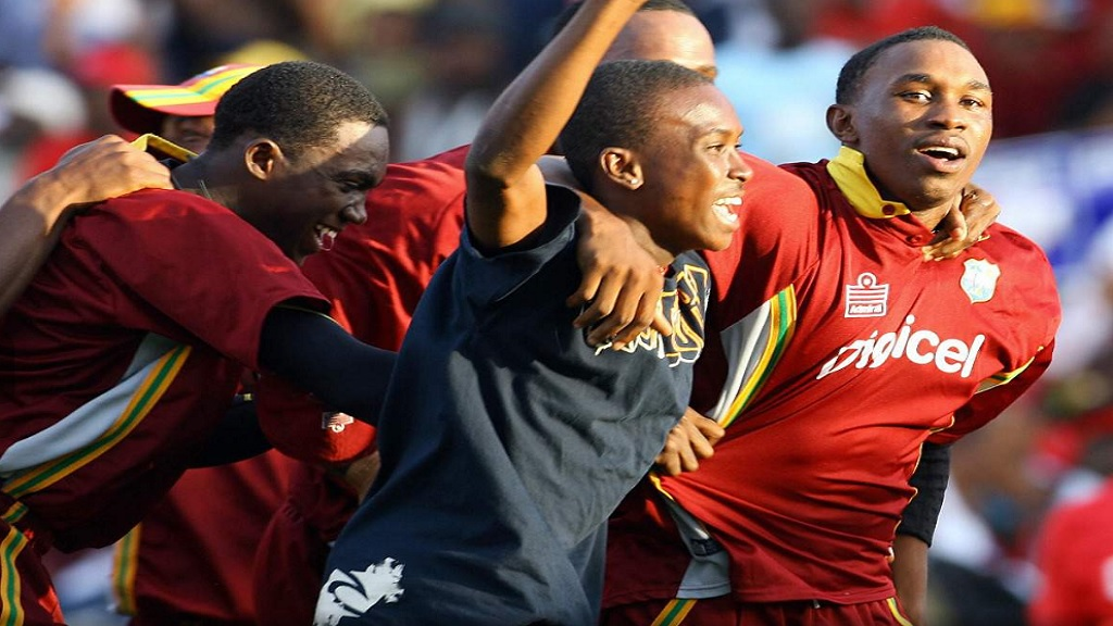Dwayne Bravo (right) celebrates with his teammates after taking the final wicket to lead West Indies to a one-run victory over India in the second One-Day International at Sabina Park on this day in 2006 (May 20).