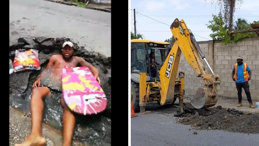 Photo L-R: Carenage resident Dwayne Braithwaite relaxes in a water-filled pothole. WASA executed repairs on May 18, 2020, after Braithwaite's video went viral online.