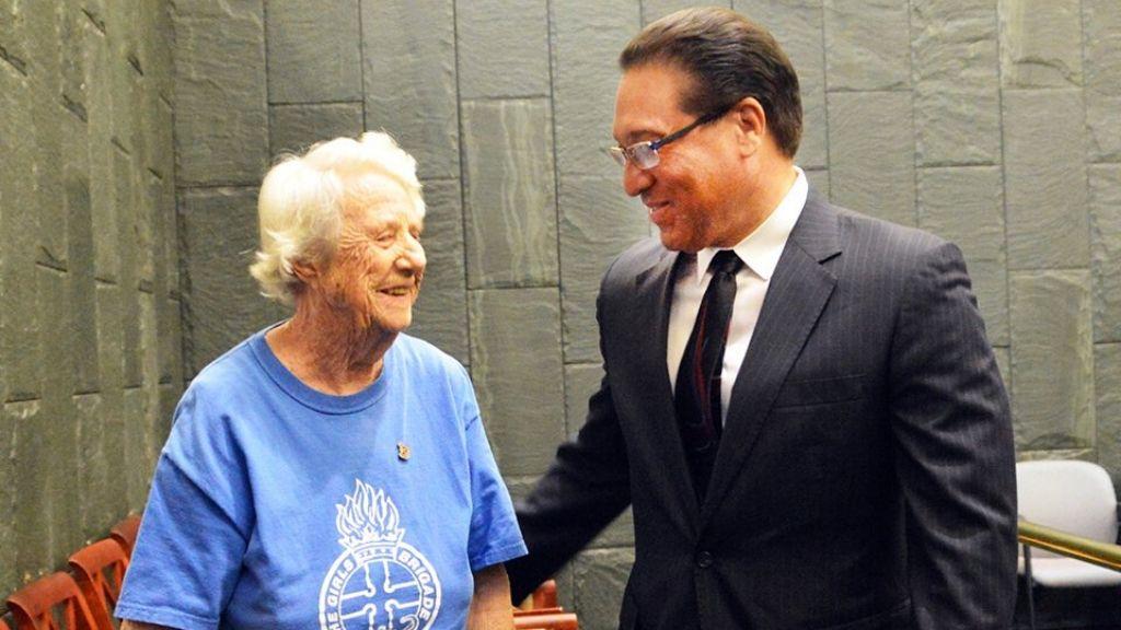Mrs Olive Hilda Miller and Premier Alden McLaughlin