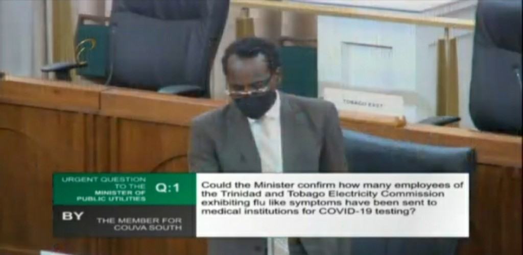Public Utilities Minister Fitzgerald Hinds responds to an urgent question in Parliament on May 22, 2020