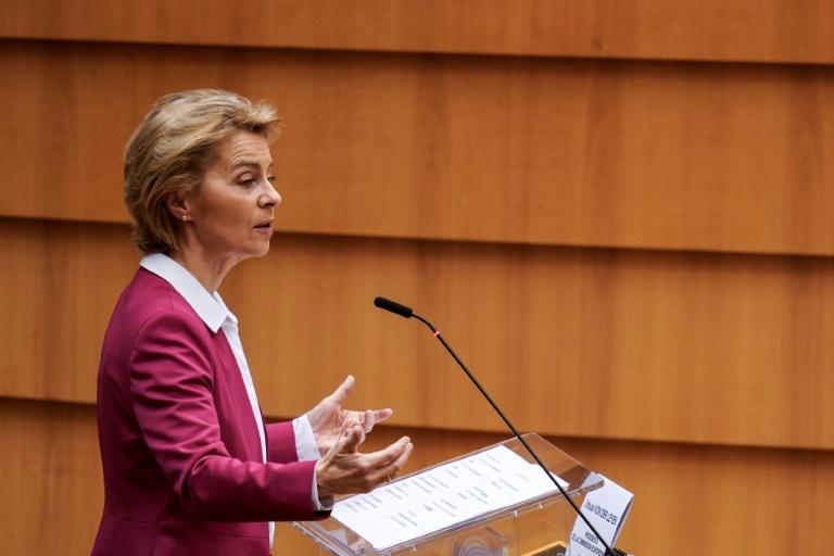 Le présidente de la Commission européenne Ursula von der Leyen au Parlement européen le 27 mai 2020