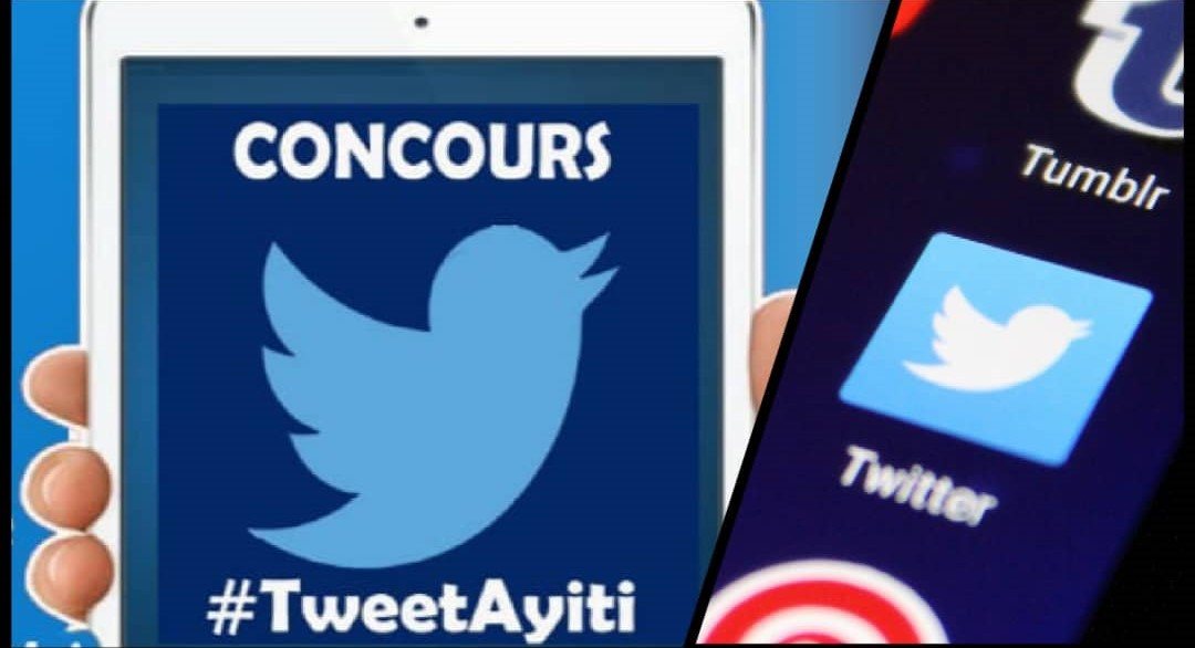 A gauche, logo officiel du concours TweetAyiti. Collage : Loop Haïti.