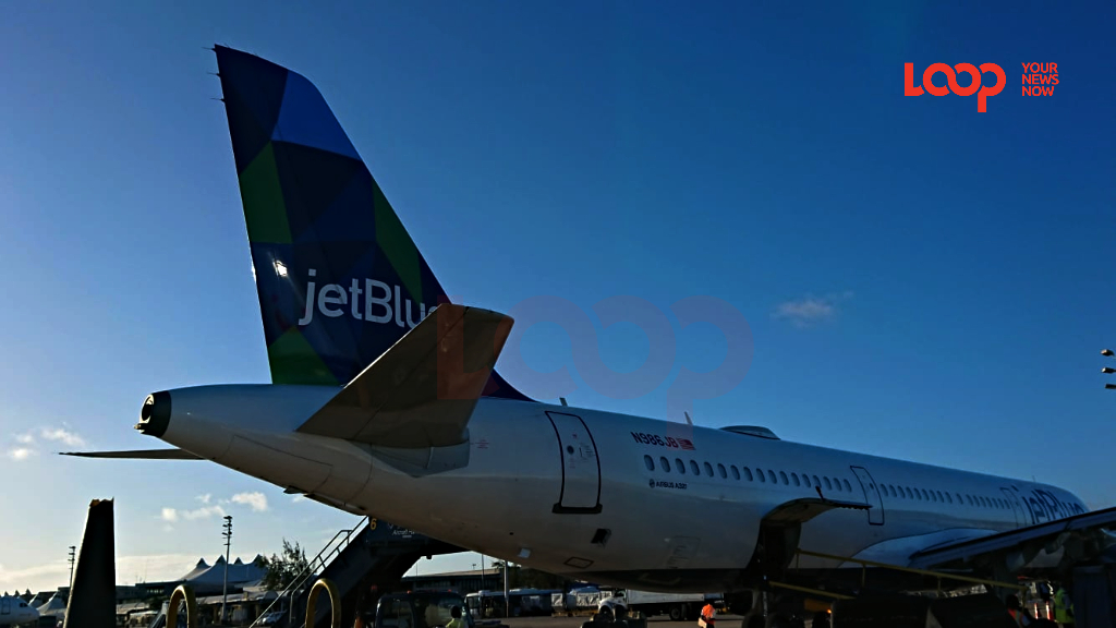 JetBlue at Grantley Adams International Airport in Barbados on March 21, 2020, before commercial flights stopped due to COVID-19. (FILE)
