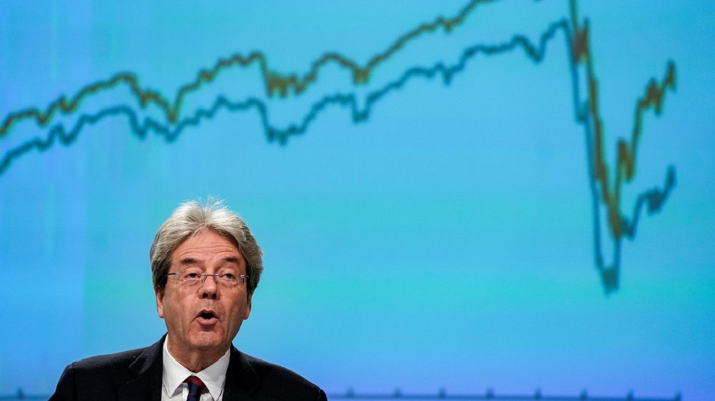 European Commissioner for the Economy Paolo Gentiloni speaks during a media conference on the economy at EU headquarters in Brussels, Wednesday, May 6, 2020. (Kenzo Tribouillard, Pool Photo via AP)