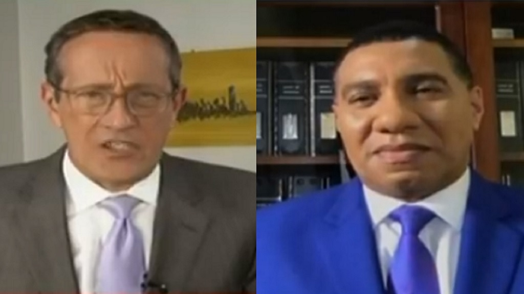 Screen grab of Prime Minister Andrew Holness' interview with CNN's Richard Quest on Thursday.