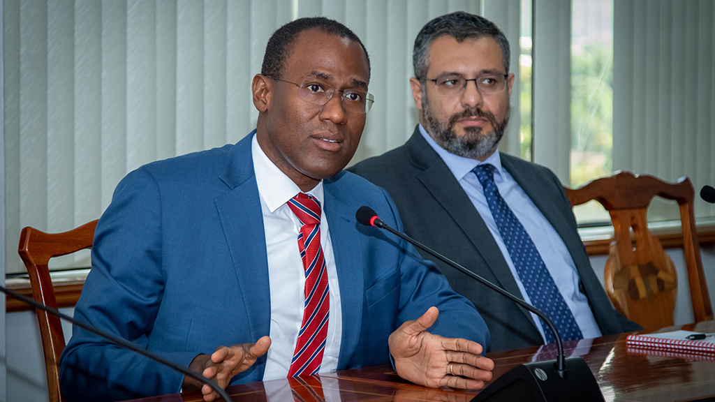 Loop file photos shows Finance Minister Dr Nigel Clarke (left) and IMF Resident Representative for Jamaica, Dr Karim Youssef.