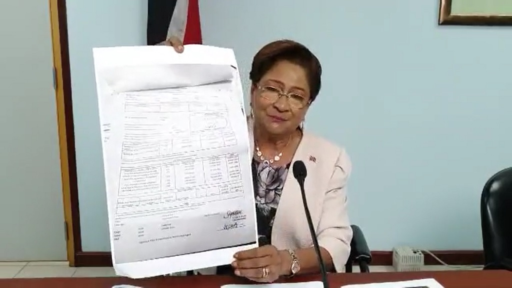 Opposition Leader, Kamla Persad-Bissessar speaks at a media conference on May 8, 2020
