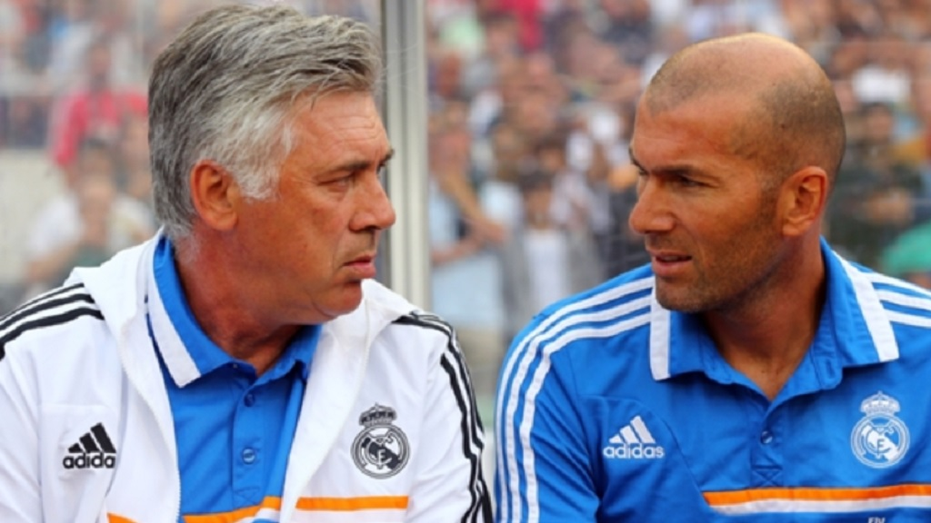 Carlo Ancelotti (left) with Zinedine Zidane.