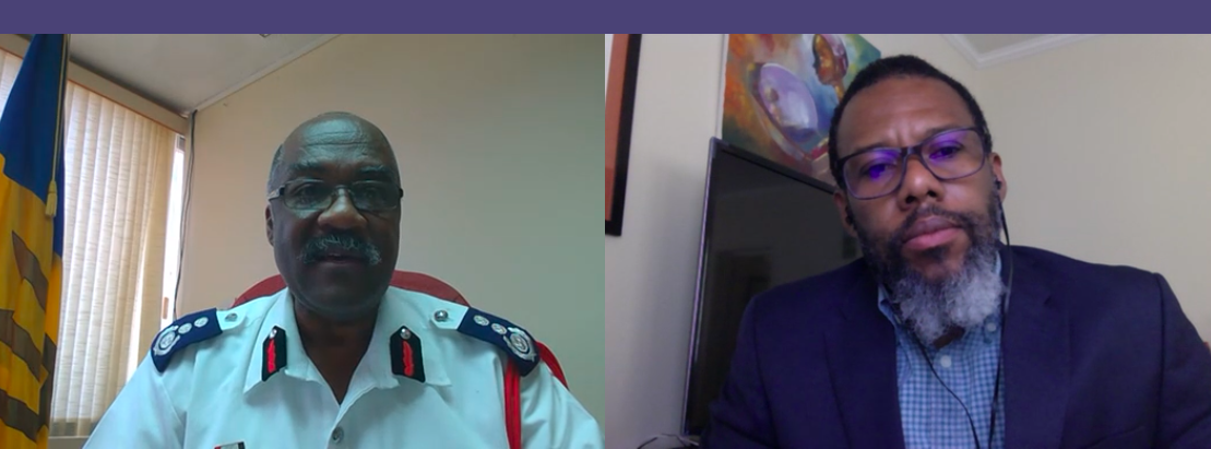 (From Left) Chief Fire Officer and President of the Caribbean Association of Fire Chiefs, Errol Maynard speaks to Executive Director of the Caribbean Disaster Emergency Management Agency (CDEMA) Ronald Jackson