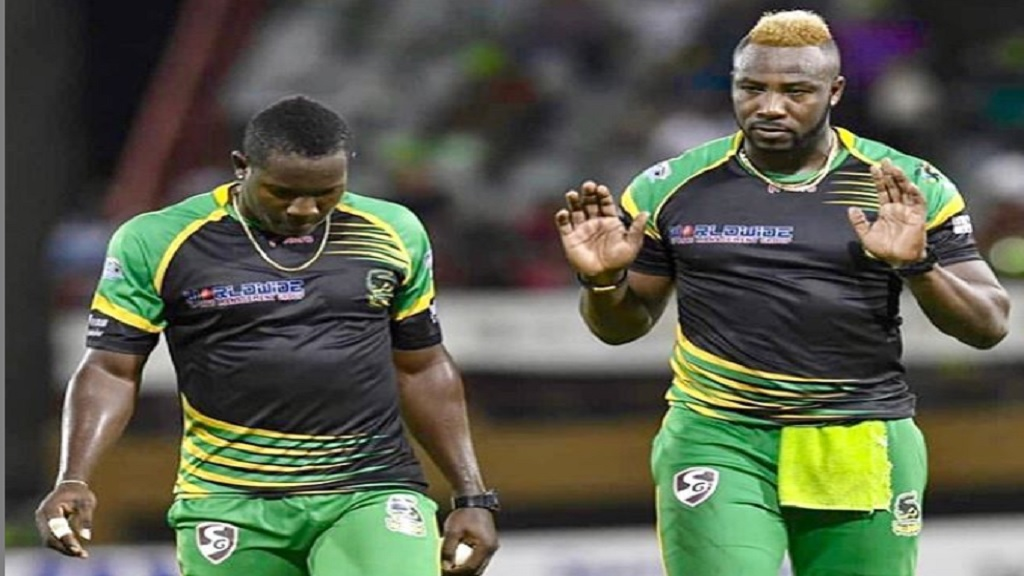 Rovman Powell (left) and Andre Russell are two of the four Jamaicans retained by the Jamaica Tallawahs franchise for the 2020 Caribbean Premier League.