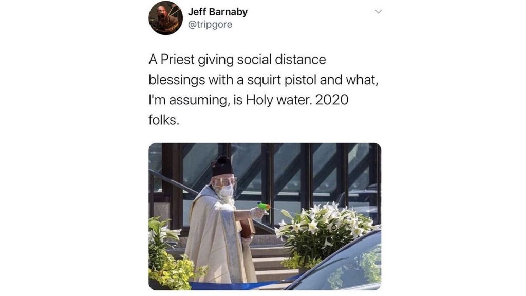 Memes abound on social media making the #PreistofHolyWater go viral.
