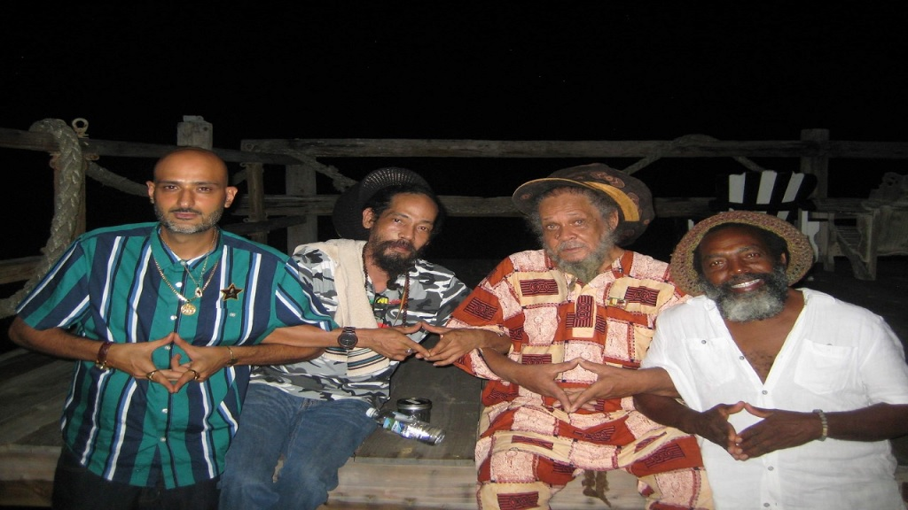 Ras Teo (left) with Gabre Selassie of Kingston Dub Club, Fred Locks and sound system stalwart Uncle Ronnie.