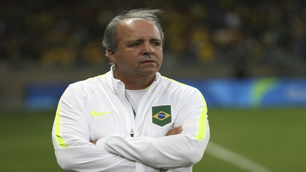In this Aug. 12, 2016 file photo, Brazil's coach Oswaldo Alvarez Vadao, looks on prior to a quarter-final match at the women's Olympic football tournament against Australia at the Mineirao Stadium in Belo Horizonte, Brazil. (AP Photo/Eugenio Savio, File).