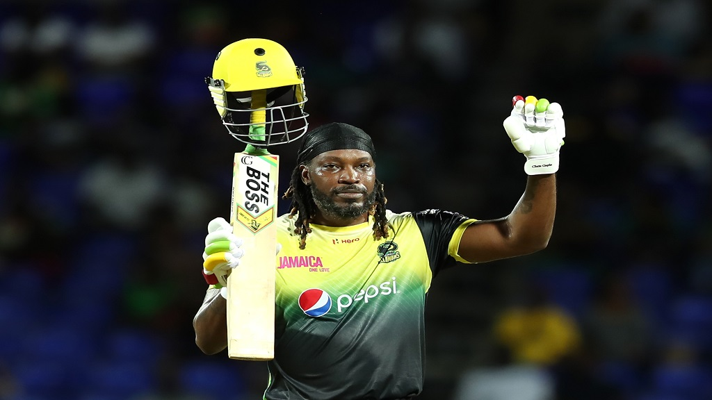 Chris Gayle of Jamaica Tallawahs celebrates his century against St Kitts & Nevis Patriots during the Hero Caribbean Premier League match at Warner Park Sporting Complex on September 10, 2019 in Basseterre, St Kitts, Saint Kitts and Nevis. (Photo by Ashley Allen - CPL T20/CPL T20 via Getty Images ).