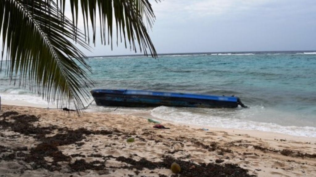 The canoe which was detected by the police on Spotts beach in the Cayman Islands.