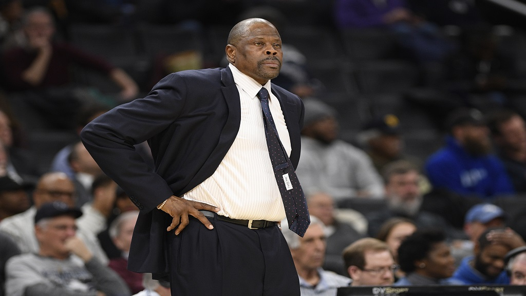 In this Wednesday, Feb. 5, 2020, file photo, Georgetown head coach Jamaica-born Patrick Ewing looks on during the first half of an NCAA college basketball game against Seton Hall, in Washington. (AP Photo/Nick Wass, File).
