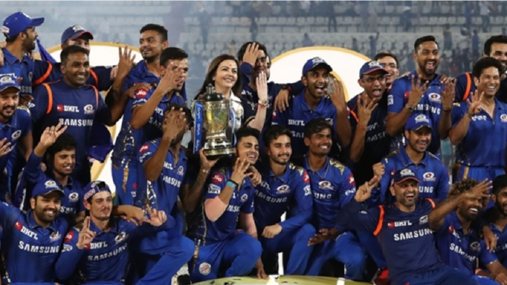 The Mumbai Indians celebrate after winning the 2019 IPL.
