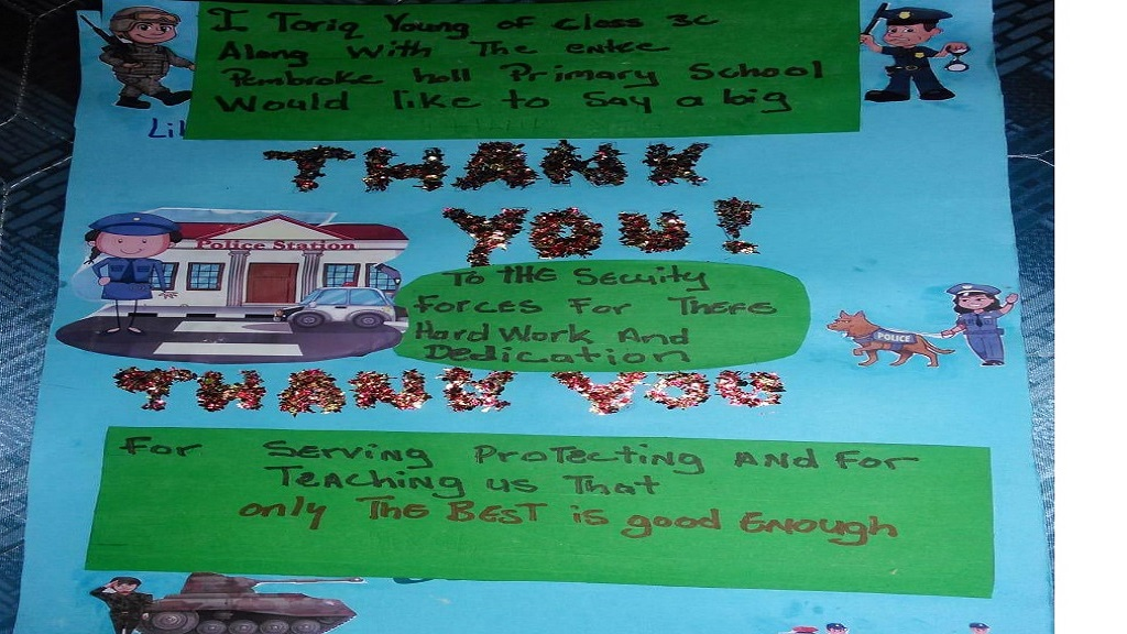 One of the top posters that emerged from a COVID-19-focused competition at Pembroke Hall Primary School in St Andrew.