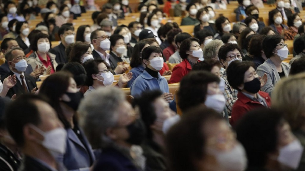 Christians wearing face masks attend a service at the Yoido Full Gospel Church in Seoul, South Korea, Sunday, May 10, 2020. (AP Photo/Ahn Young-joon)