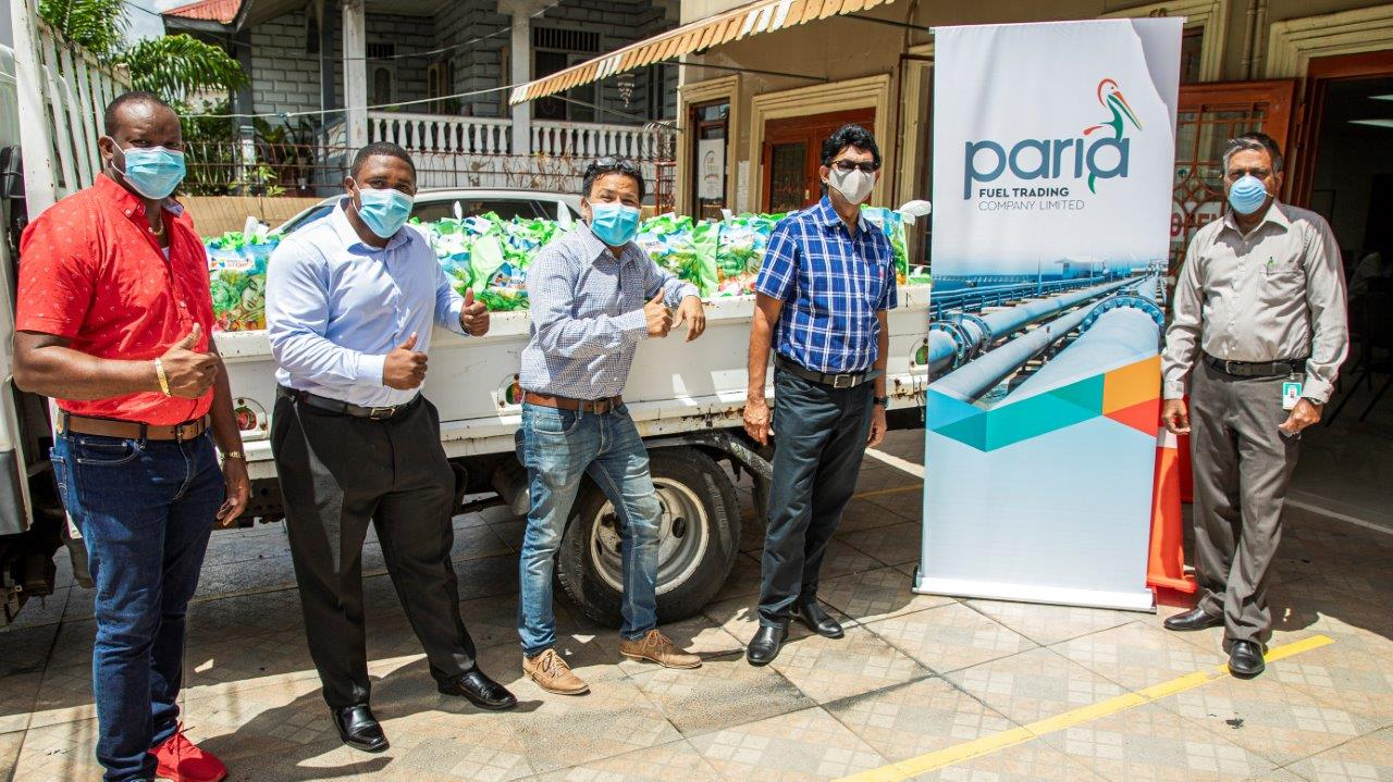 General Manger, Terminal and Trading Mushtaq Mohammed (on far right) delivers hampers to the Councillors of San Fernando. Present for distribution (from left) – Councillors Nigel Couttier, Micheal Johnson, Naigum Joseph, and Ryaad Hosein