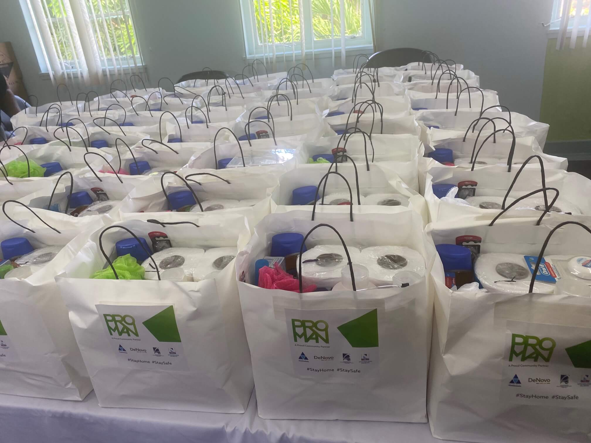 Care packages distributed to health workers encamped at the Caura and Couva hospitals included toiletries and personal hygiene items. Photo via Proman.