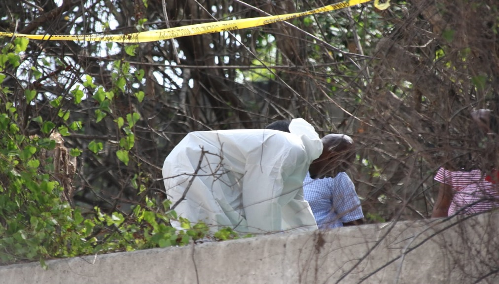 Police investigators on the property in St Andrew where five bodies were found buried on Tuesday.