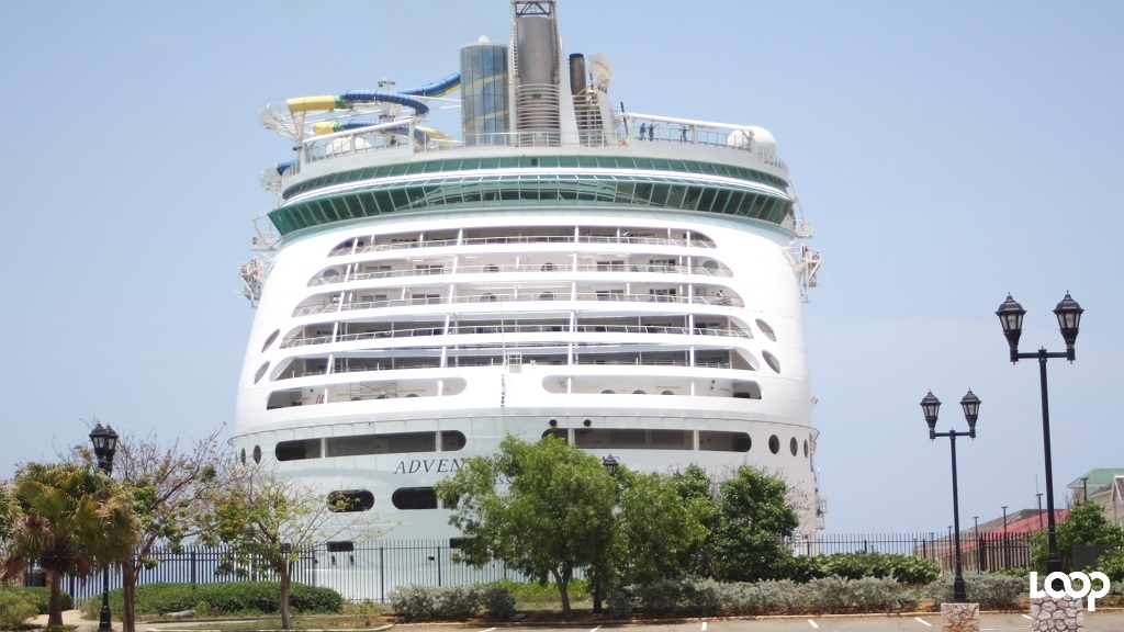 Royal Caribbean's Adventure of the Seas is pictured docked at the Falmouth Cruise Ship Pier on Tuesday.