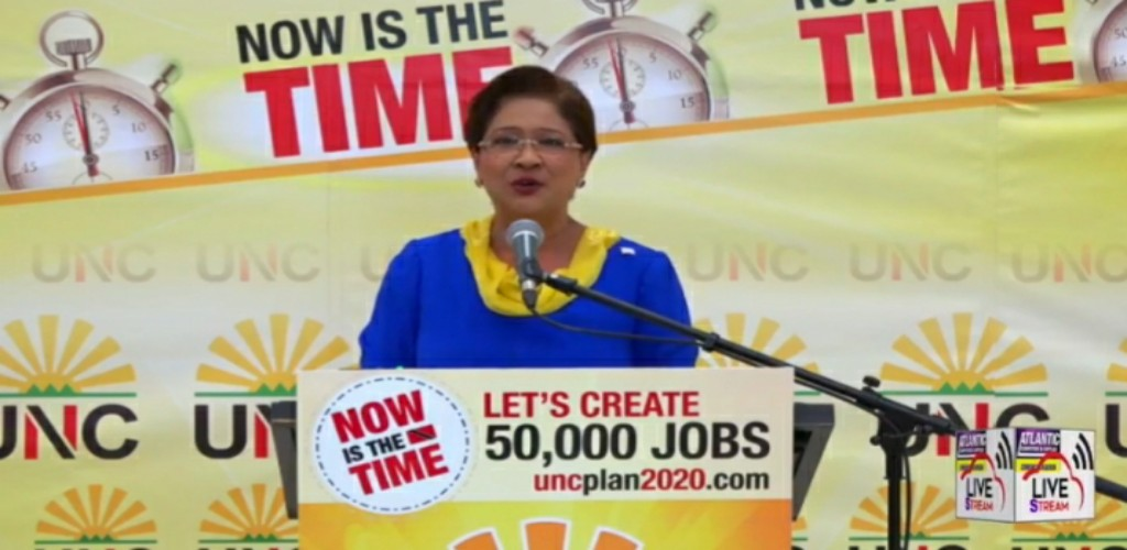 Opposition Leader Kamla Persad-Bissesar speaks at a virtual political meeting on Thursday 21 May, 2020