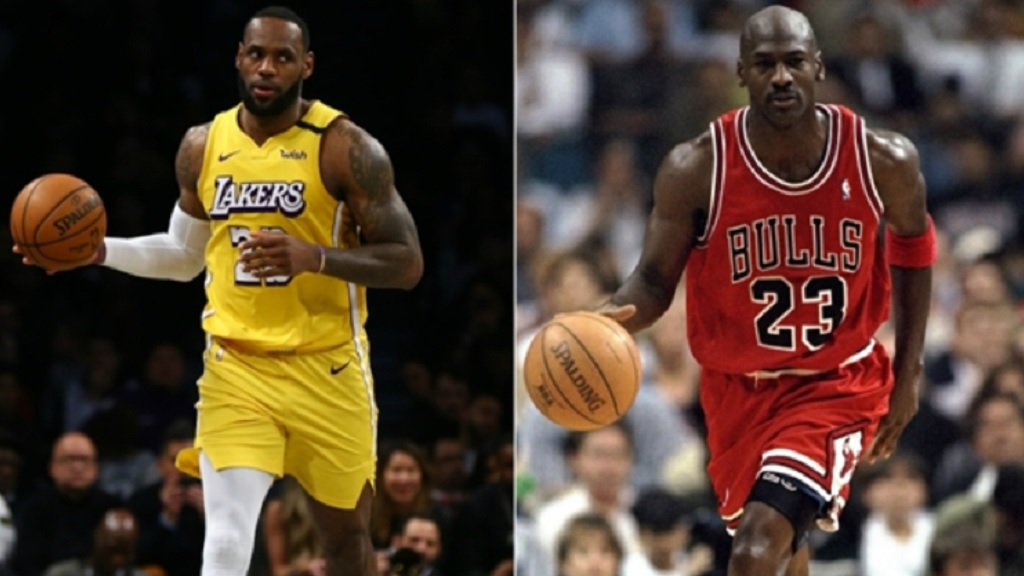 Los Angeles Lakers superstar LeBron James (left) and Chicago Bulls legend Michael Jordan.