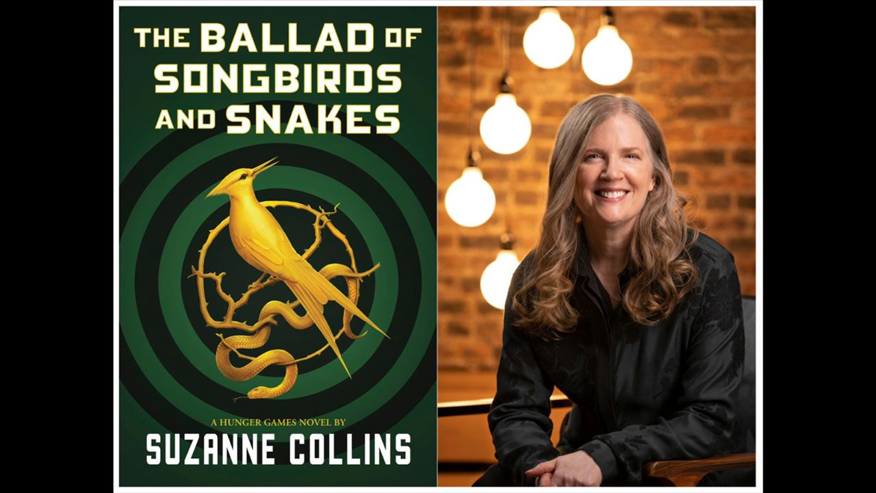 "This combination of images released by Scholastic shows the cover image for ""The Ballad of Songbirds and Snakes,"" by Suzanne Collins, left, and a portrait of Collins. The ""Hunger Games"" novel will be released on May 19. (Scholastic via AP, left, Todd Plitt/Scholastic via AP)"