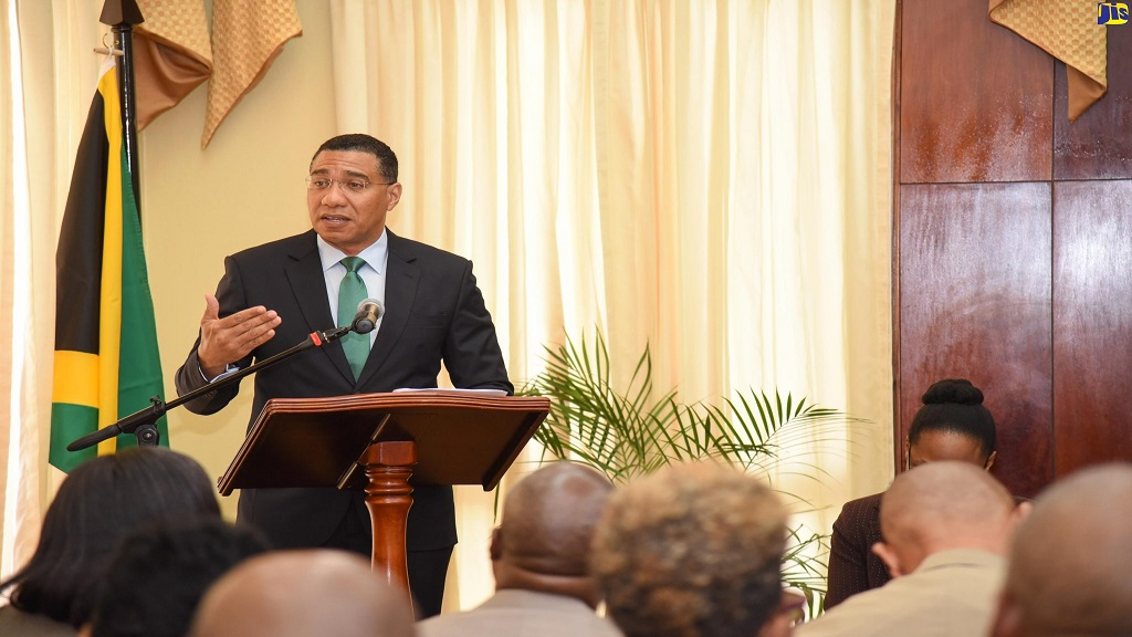 Prime Minister Andrew Holness at one of the regular COVID-19 press conferences  at Jamaica House.