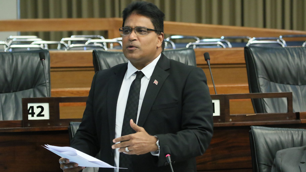 Oropouche East MP Dr Roodal Moonilal enters the debate on the budget. © 2019 Office of the Parliament.